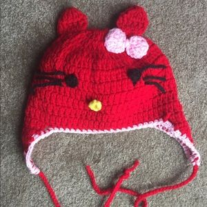 Other - Red Crocheted Hello Kitty Hat